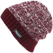 Cable Knit Marl Beanie Hat with Turn-up - Maroon
