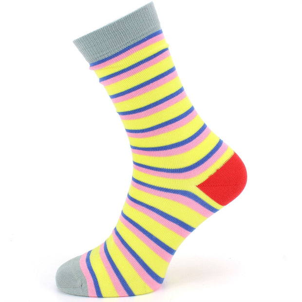 Bamboo Socks - Stripe - Yellow Pink Blue