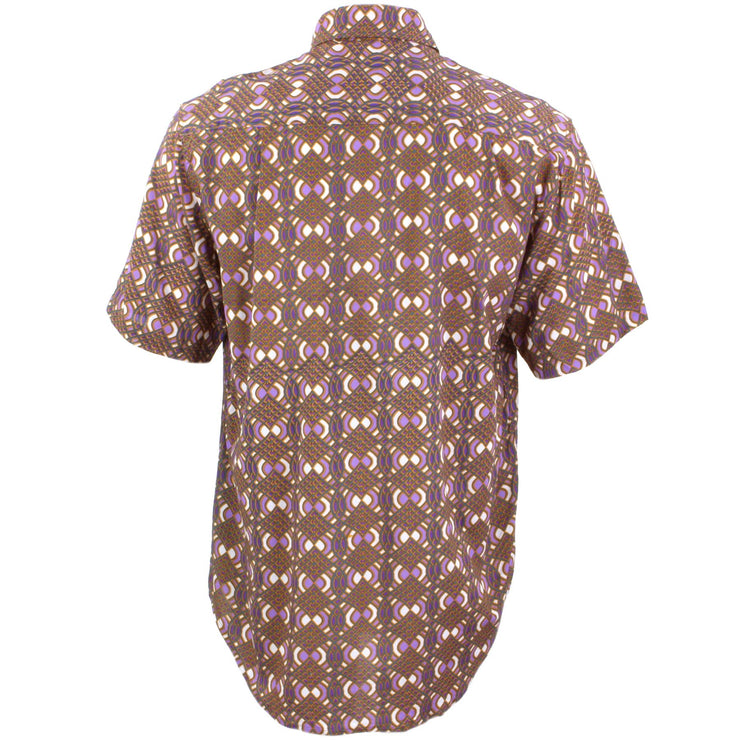 Regular Fit Short Sleeve Shirt - Brown & Purple Abstract