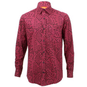 Regular Fit Long Sleeve Shirt - Wine Red with Black Abstract Shapes