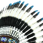 Native Amercian Chief Headdress - Blue (Black Fur)