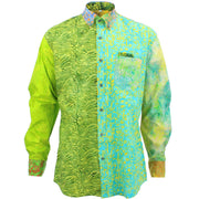 Regular Fit Long Sleeve Shirt - Random Mixed Batik - Bright Green