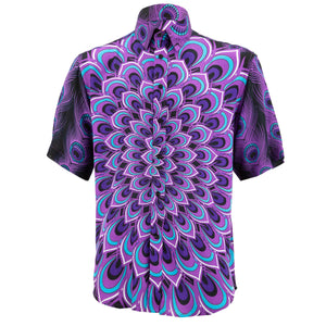 Regular Fit Short Sleeve Shirt - Peacock Mandala - Deep Purple