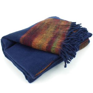 Tibetan Wool Blend Shawl Blanket - Navy with Sunset Reverse