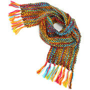 Long Chunky Knit Acrylic Scarf - Brown Multi