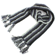 Long Narrow Chunky Wool Knit Scarf - Black & Grey