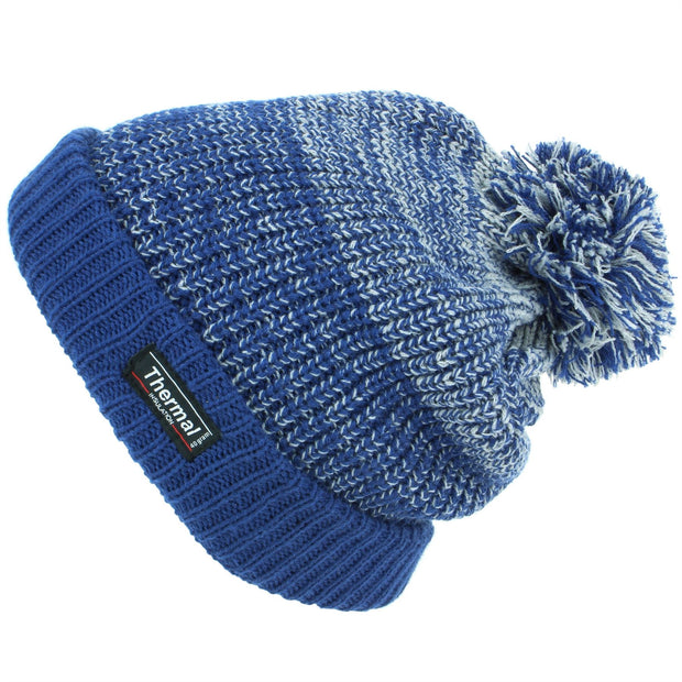 Chunky Knit Marl Bobble Beanie Hat with Turn-up - Blue
