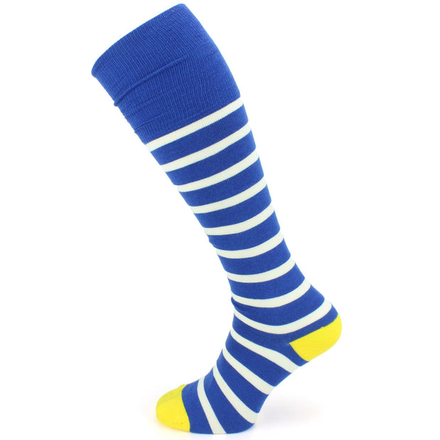 Long Bamboo Socks - Blue & White