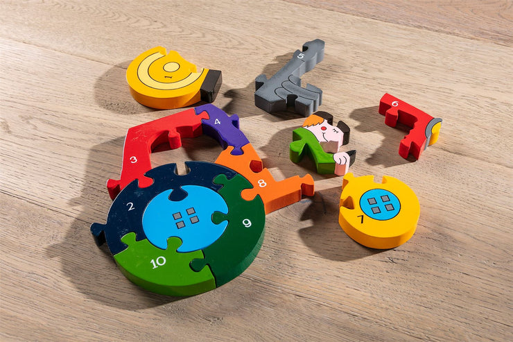 Handmade Wooden Jigsaw Puzzle - Number Tractor