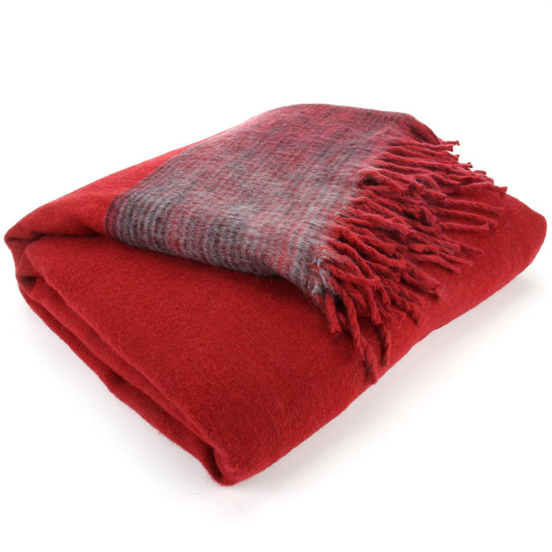 Tibetan Wool Blend Shawl Blanket - Red with Maroon & Grey Reverse