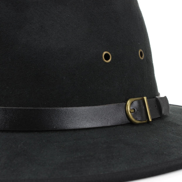 Suede Effect Fedora Hat with Leather Band - Black