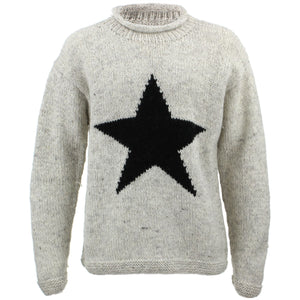 Chunky Wool Knit Star Jumper - Light Grey