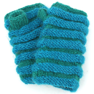 Wool Knit Arm Warmer - Ruched - Blue Green