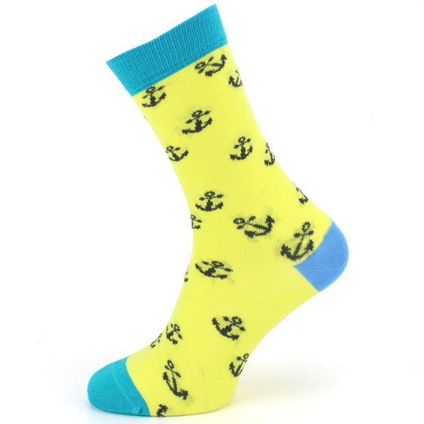 Bamboo Socks - Anchors - Yellow