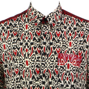 Regular Fit Short Sleeve Shirt - Black Beige & Red Abstract