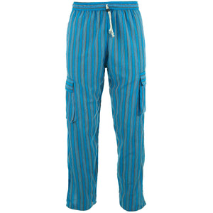 Cotton Combat Trousers Pant - Blue Stripe