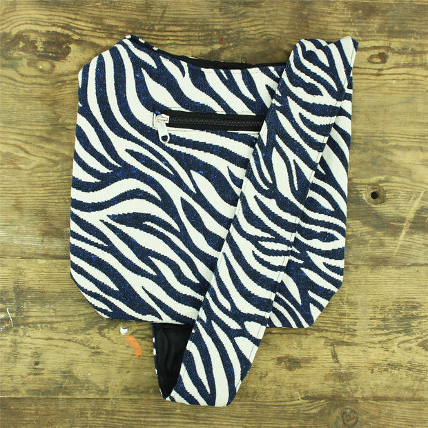 Cotton Canvas Sling Shoulder Bag - Zebra Blue