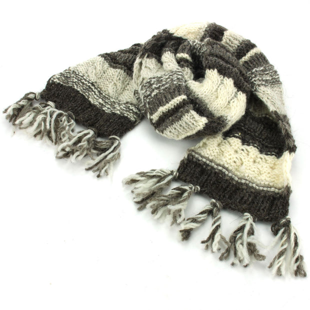 Chunky Wool Knit Scarf - Stripe Natural