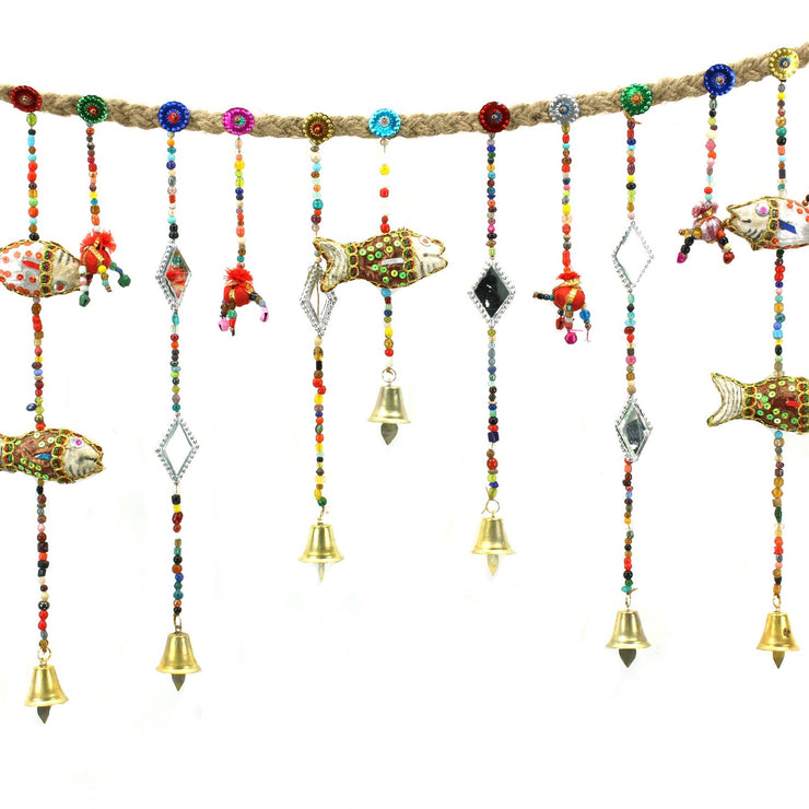 Handmade Rajasthani Strings Hanging Decorations - Door Garland - Fish