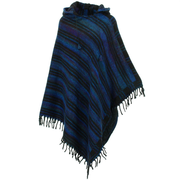 Vegan Wool Hooded Poncho - Blues