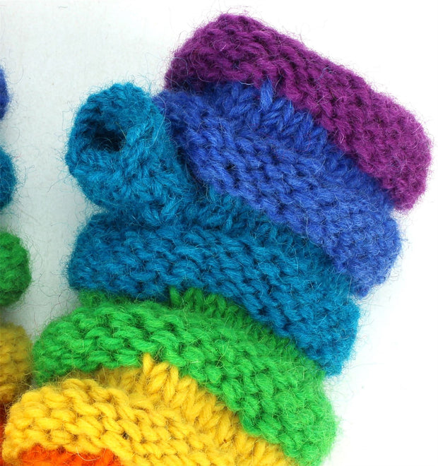 Wool Knit Arm Warmer - Ruched - Rainbow