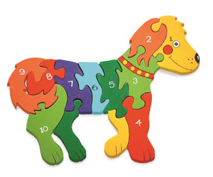 Wooden Jigsaw Puzzle - Number Dog