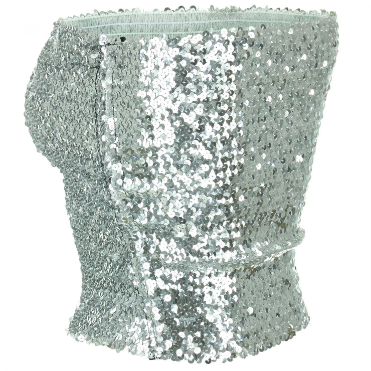 Sequin Strapless Top - Silver