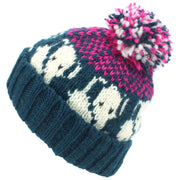 Wool Knit Bobble Beanie Hat - Elephant - Teal Pink