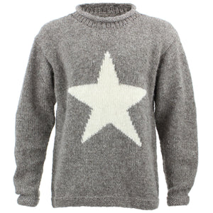 Chunky Wool Knit Star Jumper - Oatmeal