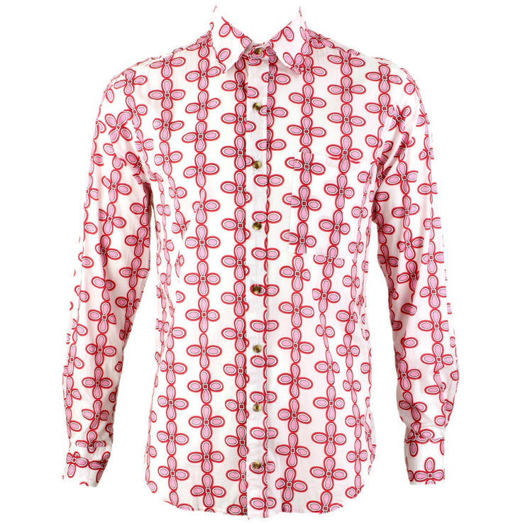 Regular Fit Long Sleeve Shirt - Pink Floral on White