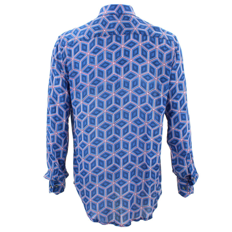 Tailored Fit Long Sleeve Shirt - Blue Abstract Diamonds