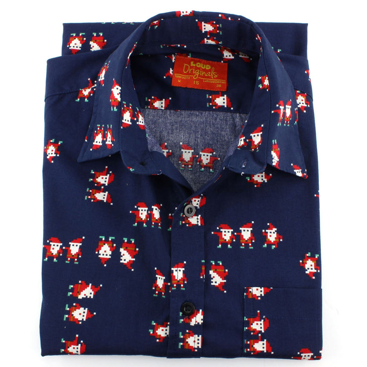 Tailored Fit Short Sleeve Shirt - Pixelated Santa