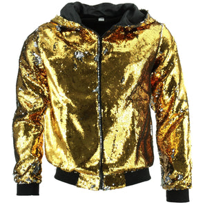 Sequin Hooded Bomber Jacket - Gold