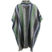 Brushed Cotton Long Hooded Poncho - Green