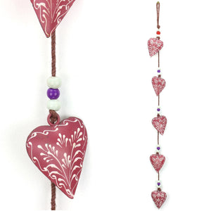 Hanging Mobile Decoration String of Hearts - Pink - Brown String