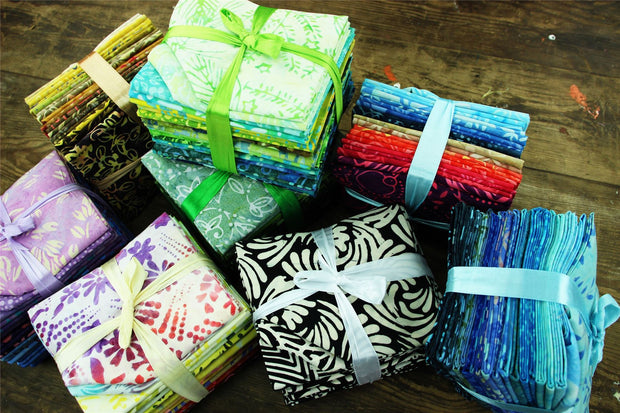 Cotton Batik Pre Cut Fabric Bundles - Fat Quarter - Ocean Tones