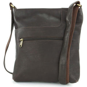 Real Leather Cross Body Messenger Shoulder Bag - Brown