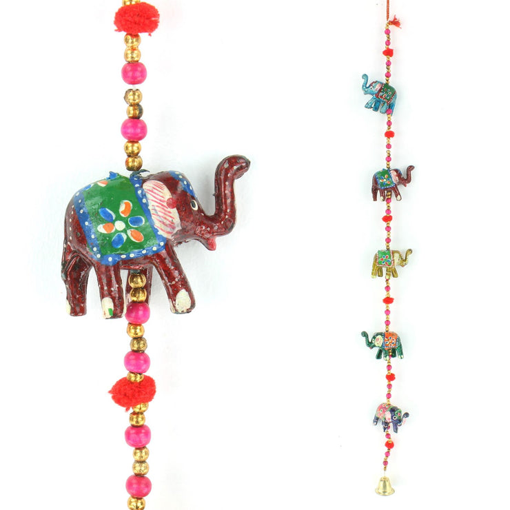 Handmade Rajasthani Strings Hanging Decorations - Ceramic Elephants