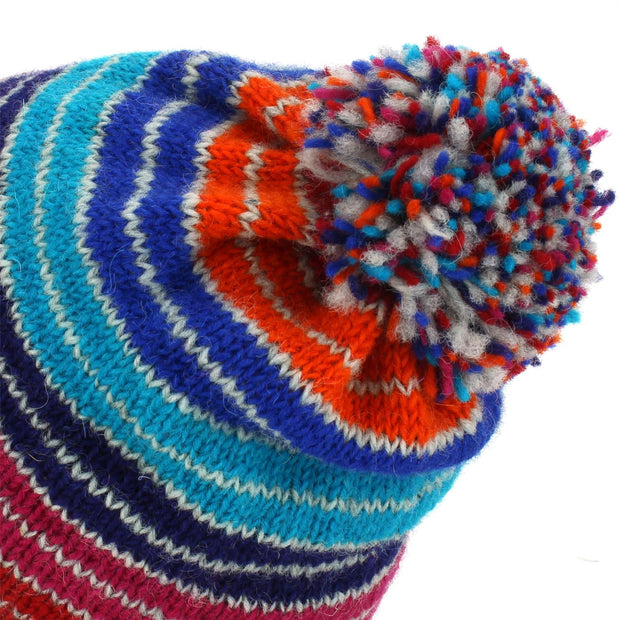Wool Knit Bobble Beanie Hat - Stripe Blue