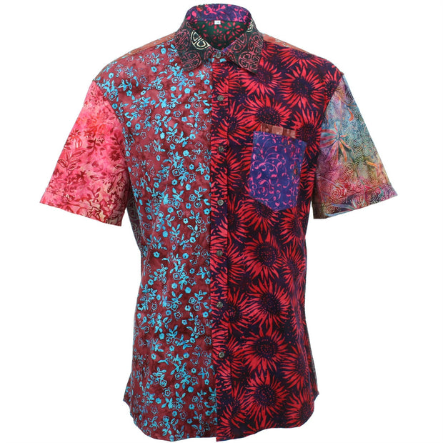 Regular Fit Short Sleeve Shirt - Random Mixed Batik - Red