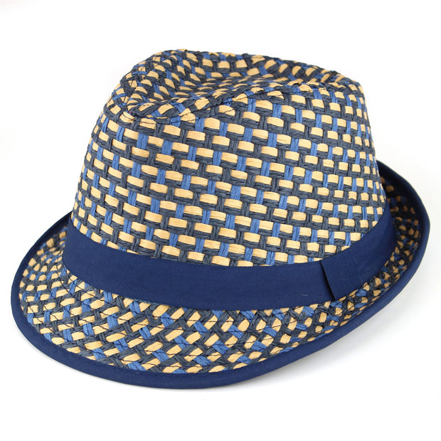 Woven Straw Paper Trilby Hat - Blue