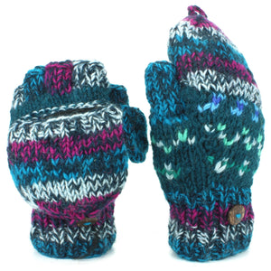 Chunky Wool Knit Fingerless Shooter Gloves - Abstract - Blue