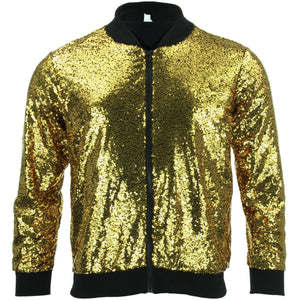 Unisex Sequin Bomber Jacket - Gold