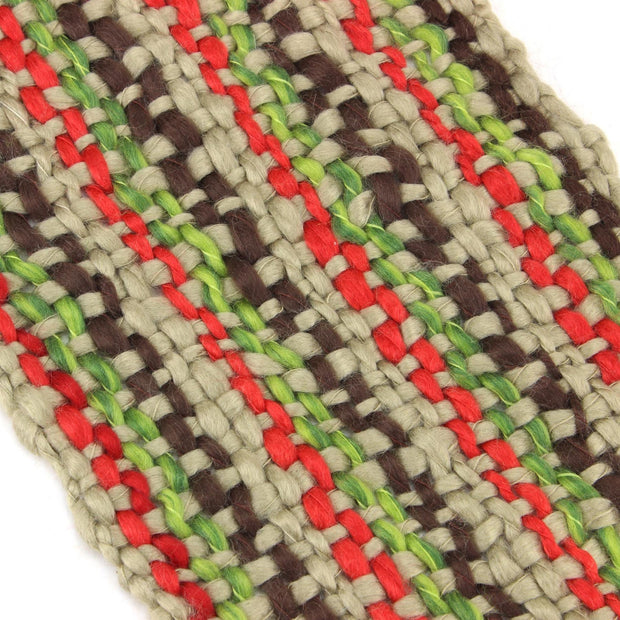 Long Chunky Knit Acrylic Scarf - Beige, Red & Green