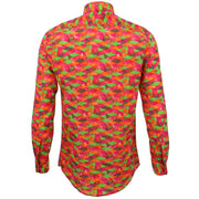 Tailored Fit Long Sleeve Shirt - Pink Green Harlequin
