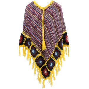 Granny Squares Crochet Poncho Long - Purple Multi/Yellow