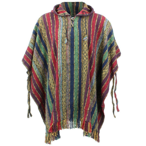 Brushed Cotton Hooded Poncho - Red Green