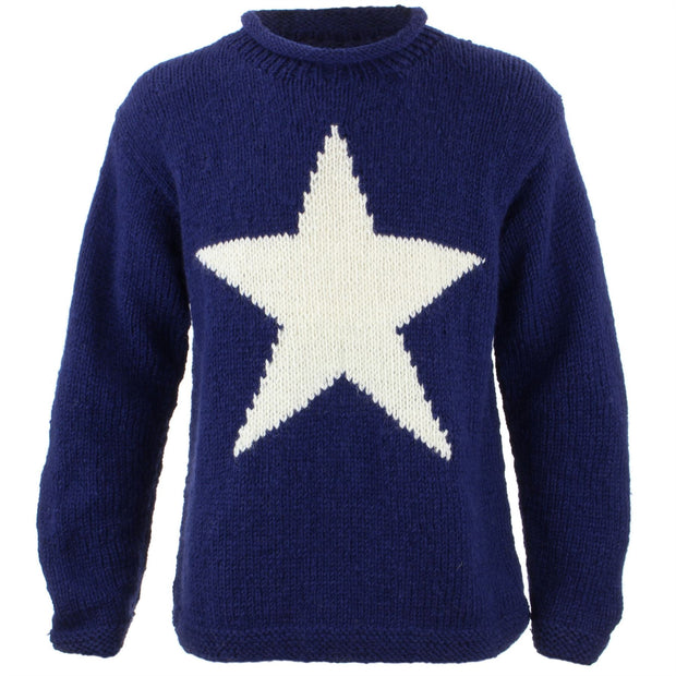 Chunky Wool Knit Star Jumper - Navy & Cream