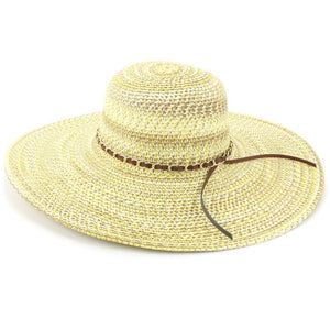 Ladies Straw Wide Brim Floppy Hat - Naural