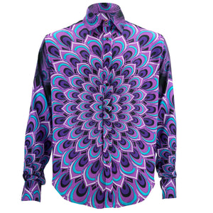 Regular Fit Long Sleeve Shirt - Peacock Mandala - Deep Purple